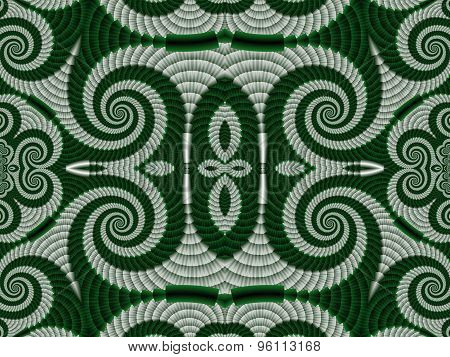 Symmetrical Textured Background With Spirals. Gray And Green Palette. Computer Generated Graphics.