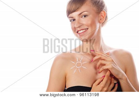 Girl With Nude Makeup Smiling Sunscreen.