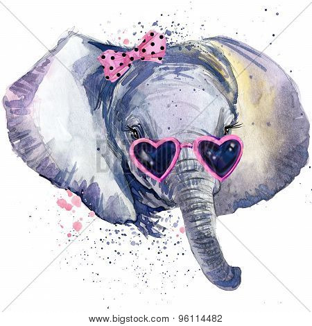 baby elephant T-shirt graphics. baby elephant illustration with splash watercolor textured  backgrou