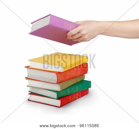 Hand Holding Book Isolated On White