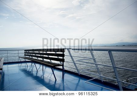 Wooden Bench On A Ferry Boat