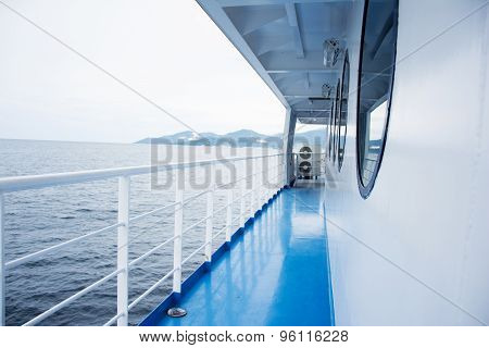Blue Floor On A Ferry Boat