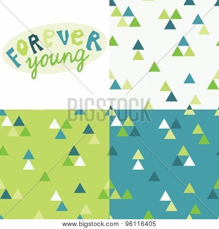 Forever young vector lettering and seamless patterns collection. Hand drawn illustration.