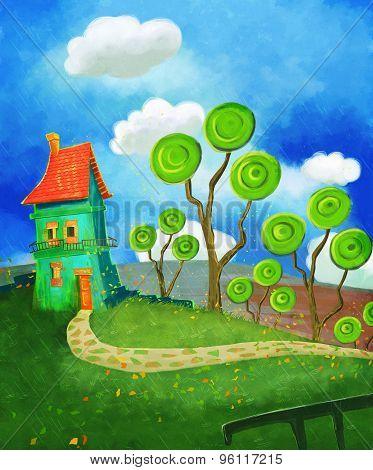 Cartoon house in green land
