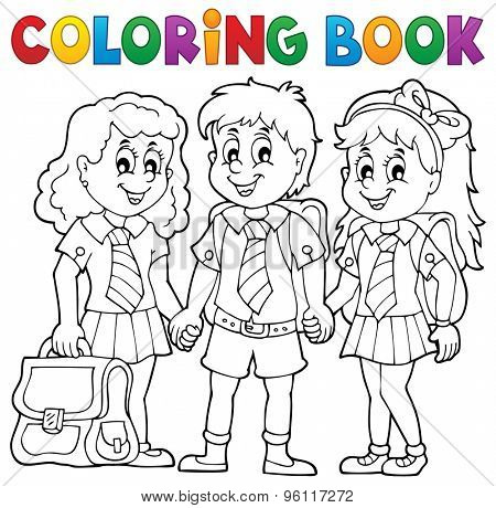 Coloring book with school pupils - eps10 vector illustration.