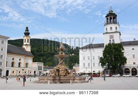 Salzburg, Austria - June 29, 2015: Fountain In Residence Square, Salzburg