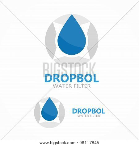 Vector logo compass with drop of water