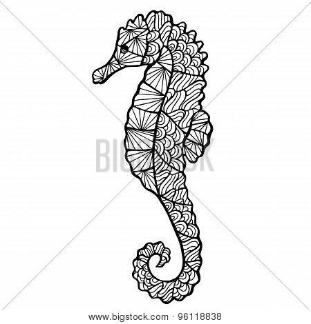 Stylized Vector  Sea Horse, Zentangle