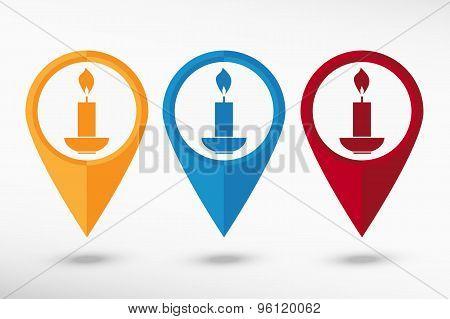 Candle map pointer, vector illustration. Flat design style
