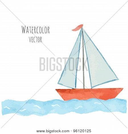 Watercolor Boat With A Flag On The Blue Waves