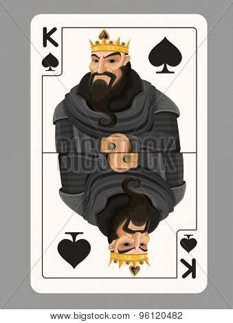 King of spades playing card. Vector illustration