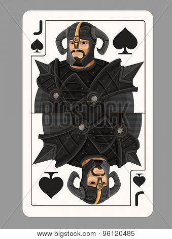 Jack spades playing card. Vector illustration