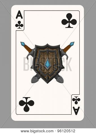 The ace of clubs playing card. Vector illustration