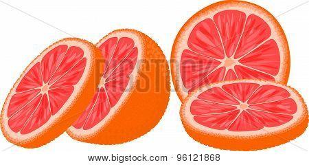 Slices of red orange or grapefruit.