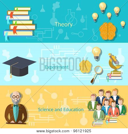 Science And Education College Students University Examination Power Mind, vector banners