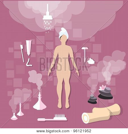 Health And Beauty: Beautiful Woman, Bathroom, Hygiene, Spa, Body Care, vector illustration