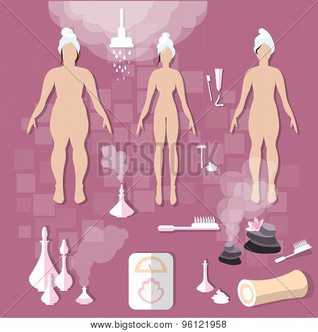 Hygiene body care women slimming spa aroma bath sauna vector illustration