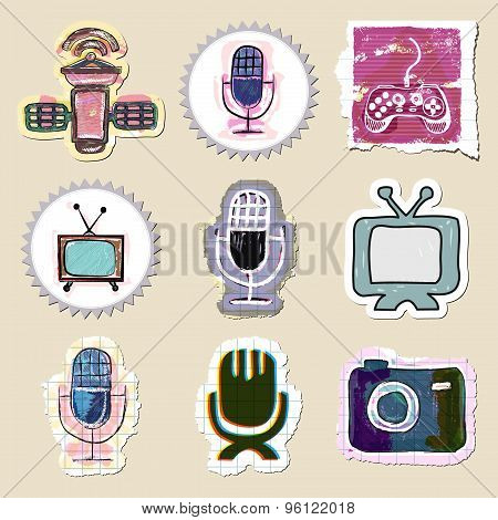 Hand drawn media and entertainment emblems set. Isolated