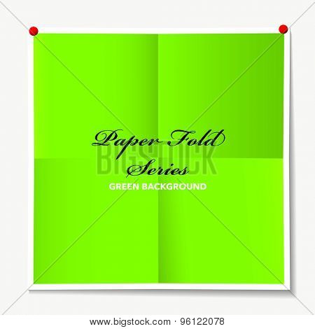 Illustrated paper background with folded elements and drop shadow and drawing pins