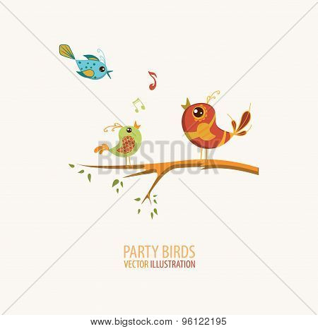 Birds Singing on a branch of a tree