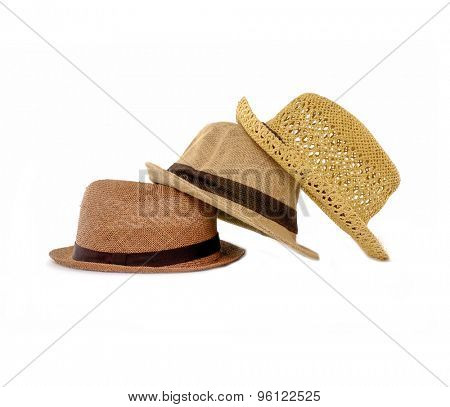 Stacked of panama straw hat