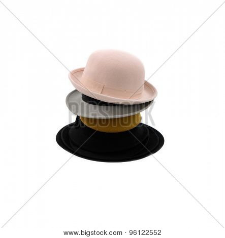 Stacked of emen's cap and felt trilby/fedora hat