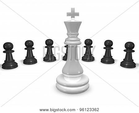 Chess Game Concept Abstract 3D Illustration.