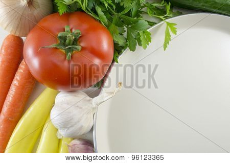 Colorful Vegetables On The Table And Big White Plate For Preparing Food
