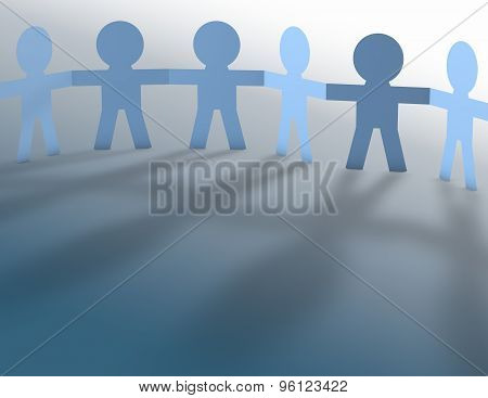 Team Work Spirit Abstract Concept With Blue Paper People.