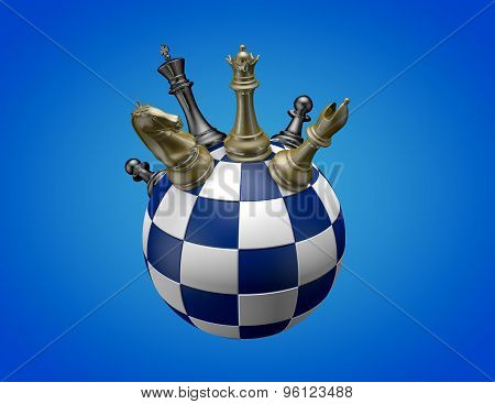 Chess Game Concept, Blue Background.
