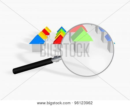 Searching A House Concept Illustration With 3D Houses And Magnifying Glass