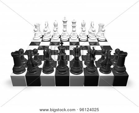 Chess Set, 3D Render Illustration Isolated On White.