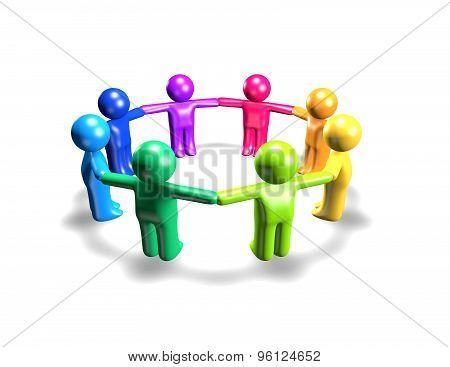 Plasticine Peoples Holding Hands, Togetherness And Team Concept Illustration, White Background.