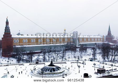 Panorama of Manege Square near the Kremlin wall