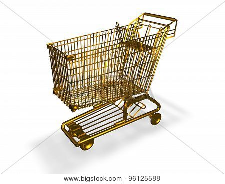 Gold Shopping Cart Isolated On White Background, Luxury Symbol.