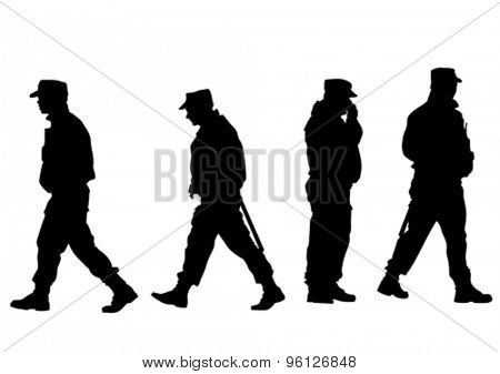 Silhouettes of uniformed officers on a white background