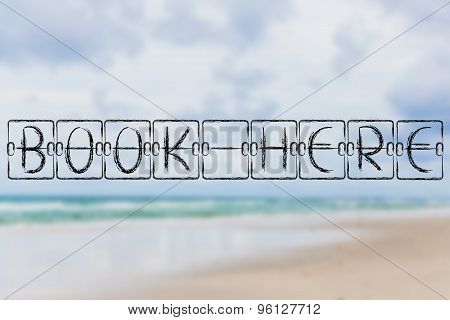 Schedule Board With Words Book Here On Beach Background