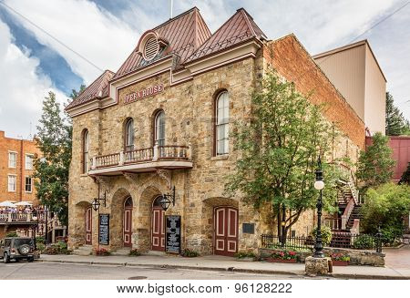 CENTRAL CITY, COLORADO, USA - JULY 15, 2015: A street view of historic Central City Opera House during 2015 summer festival (National Historic Landmark built in 1978).