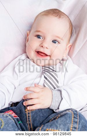Smiling baby boy close up