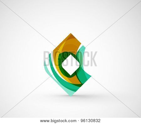 Abstract geometric company logo square, rhombus. Vector illustration of universal shape concept made of various wave overlapping elements