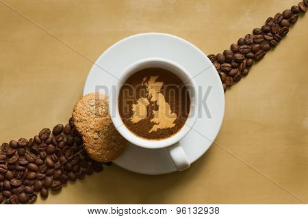 Still Life - Coffee With Map Of United Kingdom