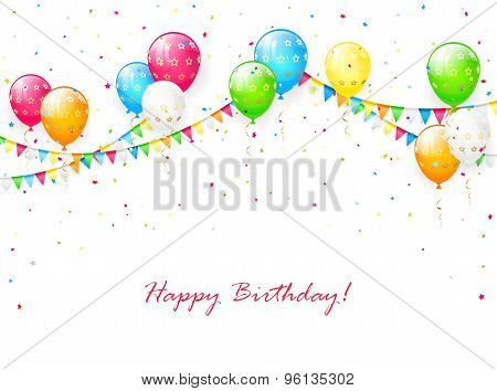 Balloons And Pennants On White Background