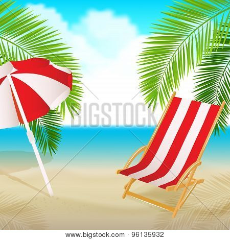 Seaside view with a palm, beach chair and umbrella