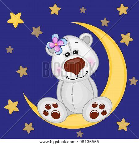 Cute Polar Bear On The Moon