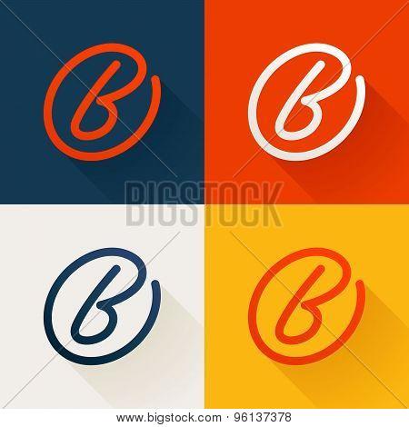 B Letter In Circle Line Logo Set
