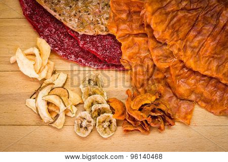 Various Types Of Dried Fruits And Fruit Cakes