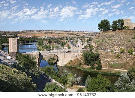 Toledo. Alcantara Bridge Over The River Tagus