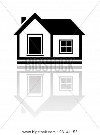 isolated house with reflection