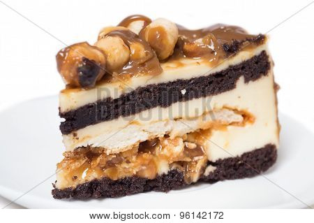 Piece Of Cake With Caramel And Hazelnut