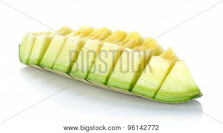 Slice With Cantaloupe Melon Isolated On The White Background